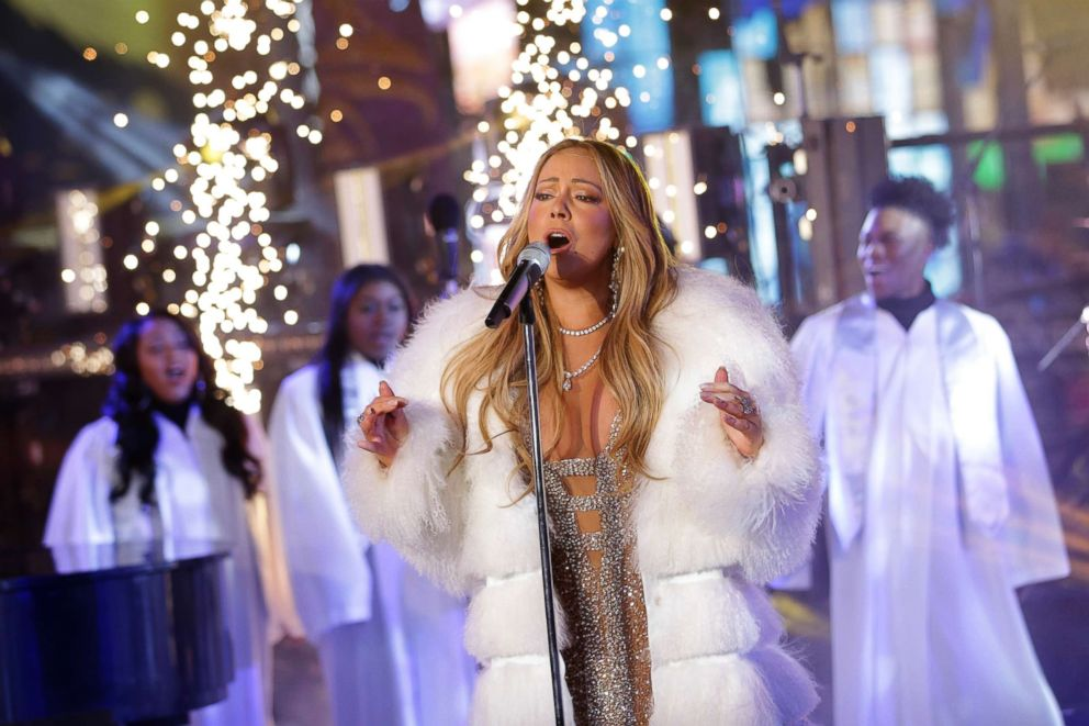 PHOTO: Mariah Carey performs on stage at the New Years Eve celebration in Times Square, Dec. 31, 2017, in New York.