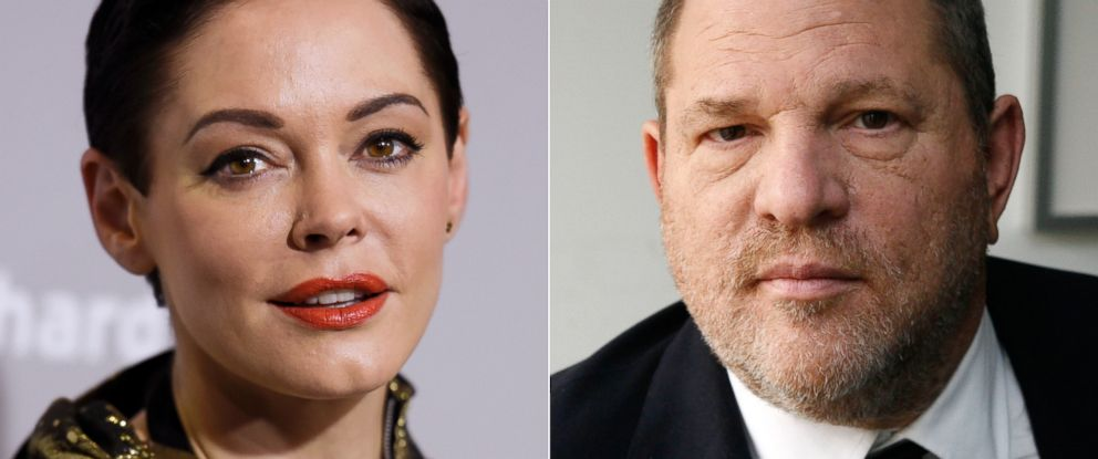 PHOTO: Actress Rose McGowan, left, and producer Harvey Weinstein.