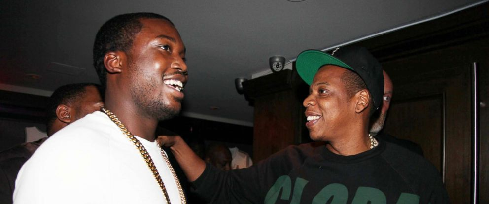 PHOTO: Meek Mill and Jay-Z attend the Premiere Of NBA 2K13 With Cover Athletes And NBA Superstars at 40/40 Club on Sept. 26, 2012 in New York City.