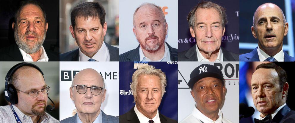 PHOTO: From top left, Harvey Weinstein, Mark Halperin, Louis C.K., Charlie Rose, Matt Lauer, Glenn Thrush, Jeffery Tambor, Dustin Hoffman, Russell Simmons and Kevin Spacey.