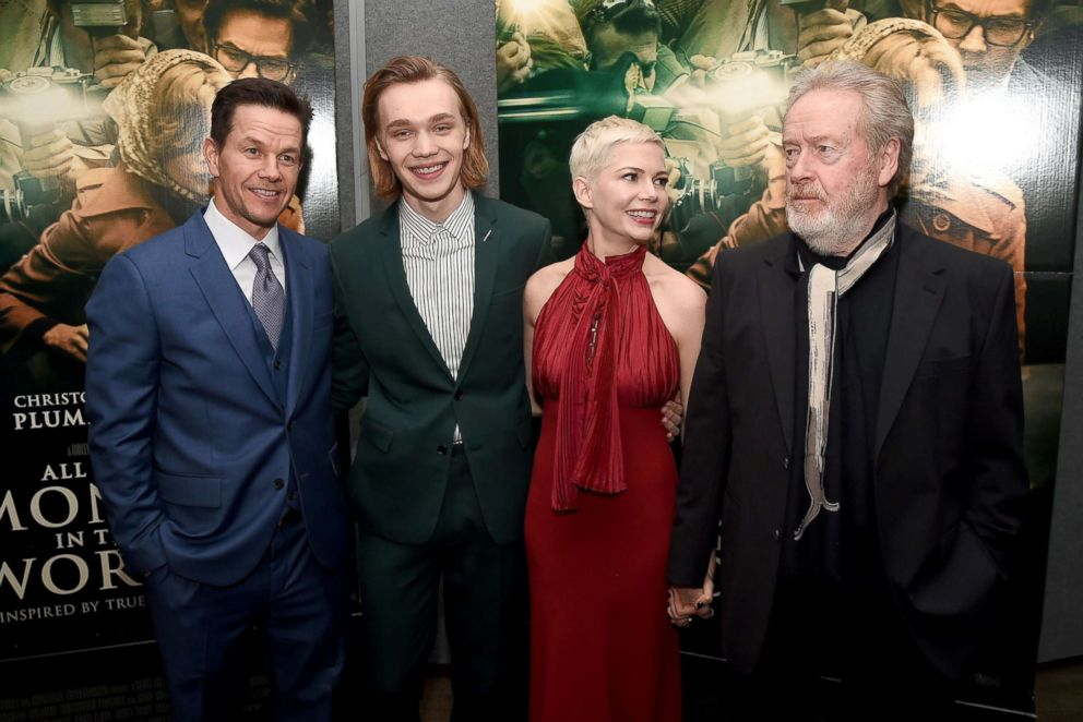 PHOTO: From left, Mark Wahlberg, Charlie Plummer, Michelle Williams, and Ridley Scott attend the premiere of All The Money In The World at Samuel Goldwyn Theater, Dec. 18, 2017 in Beverly Hills, Calif.