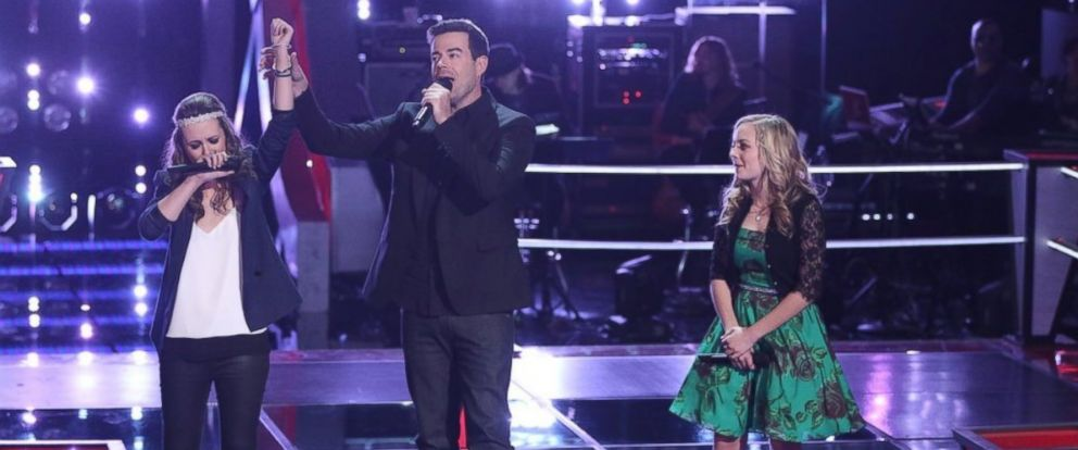 "Bria Kelly, Carson Daly, Madilyn Paige on ""The Voice"", April 7, 2014."