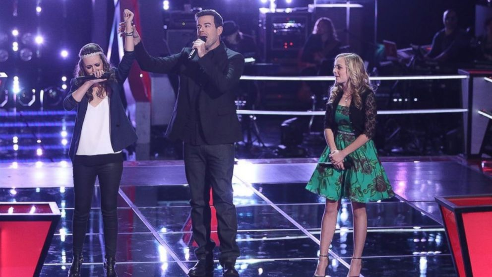 """Bria Kelly, Carson Daly, Madilyn Paige on """"The Voice"""", April 7, 2014."""