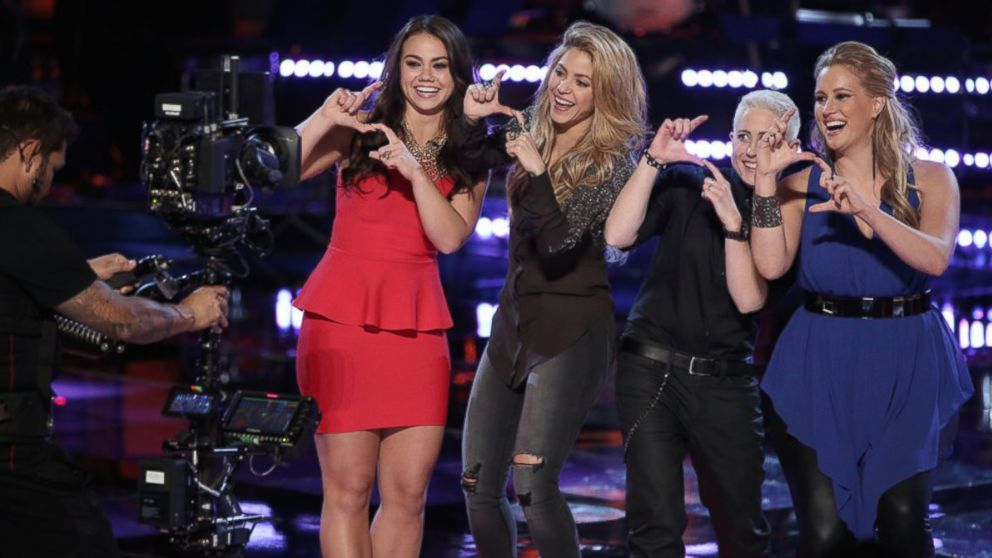 "Tess Boyer, Shakira, Kristen Merlin and Dani Moz are seen on the April 15, 2014 episode of ""The Voice""."