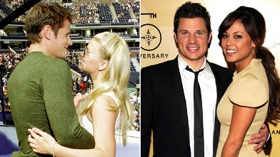 PHOTO: Nick Lachey and Vanessa Minnillo in 2011, right, and Lachey with Jessica Simpson in 2000.