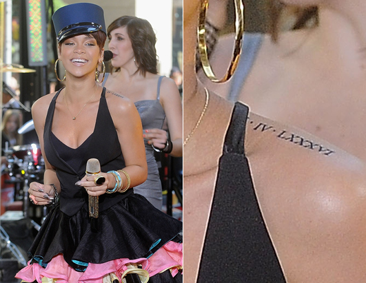 Since when did Rihanna have Roman Numerals tattooed on