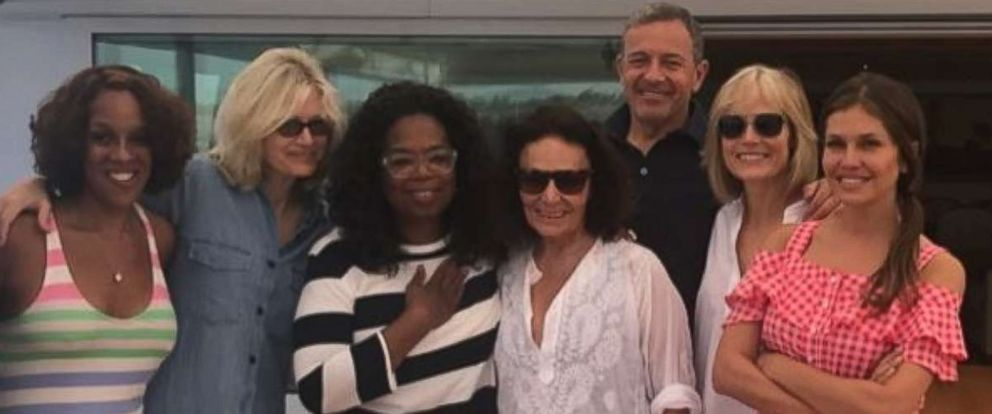 "PHOTO: David Geffen shared this photo on his Instagram account with the caption, ""Bob, Willow, Gayle, Oprah, Diane, Dasha, DVF. A great week in Sicily."""