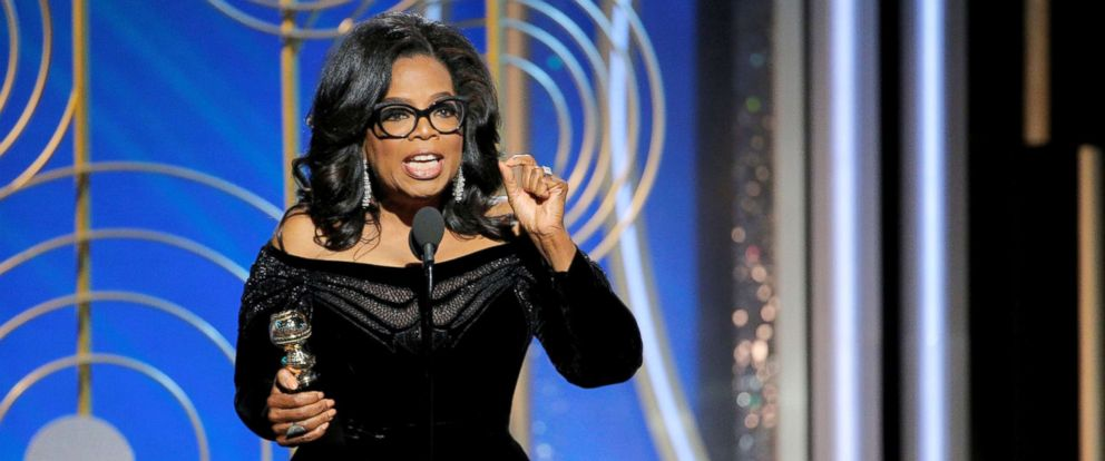 PHOTO: Oprah Winfrey speaks after accepting the Cecil B. Demille Award at the 75th Golden Globe Awards in Beverly Hills, Calif., January 7, 2018.