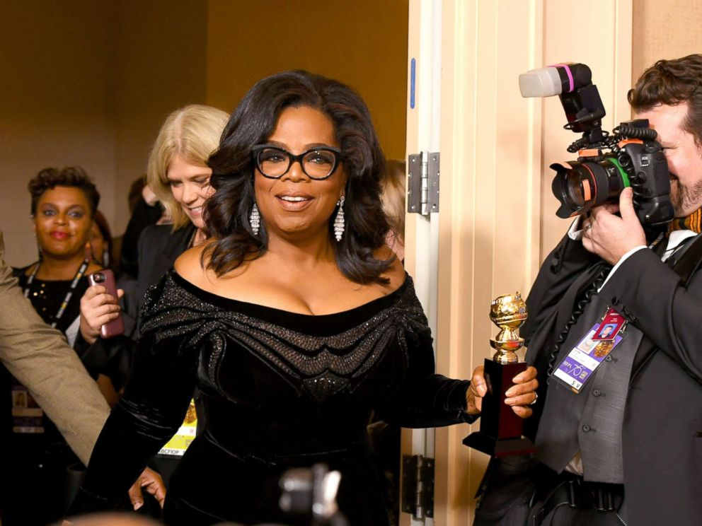 PHOTO: Oprah Winfrey arrives with the Cecil B. DeMille Award in the press room during The 75th Annual Golden Globe Awards at The Beverly Hilton Hotel, Jan. 7, 2018, in Beverly Hills, Calif.