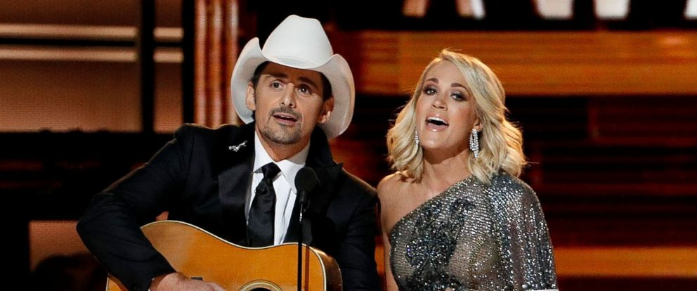 PHOTO: Brad Paisley and Carrie Underwood appear onstage during the 50th annual CMA Awards at the Bridgestone Arena, Nov. 2, 2016, in Nashville.