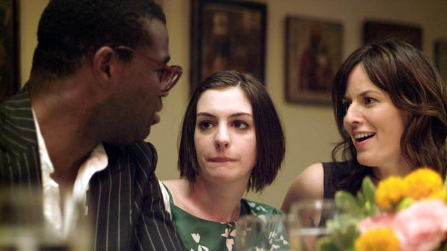 "PHOTO: Tunde Adebimpe, Anne Hathaway, center, and Rosemarie DeWitt are seen in a scene from the movie ""Rachel Getting Married."""