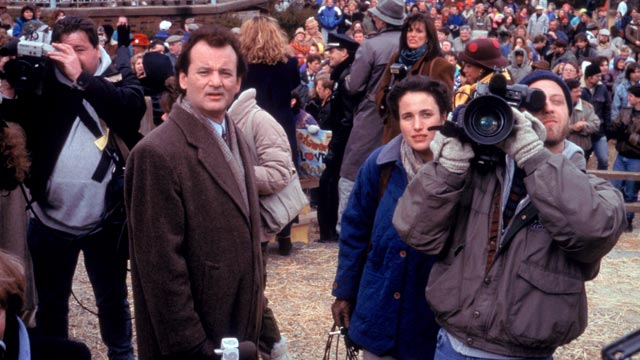"PHOTO: Bill Murray, left, Andie MacDowell and Chris Elliot, in a scene from the movie, ""Groundhog Day."""