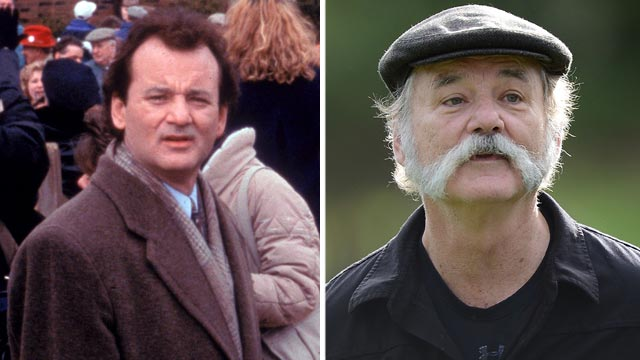 "PHOTO: Bill Murray, left, in a scene from the movie, ""Groundhog Day."" Bill Murray walks up a fairway during the first round of the AT&T Pebble Beach National Pro-Am at the Monterey Peninsula Country Club, Feb. 7, 2013, in Pebble Beach, Calif."