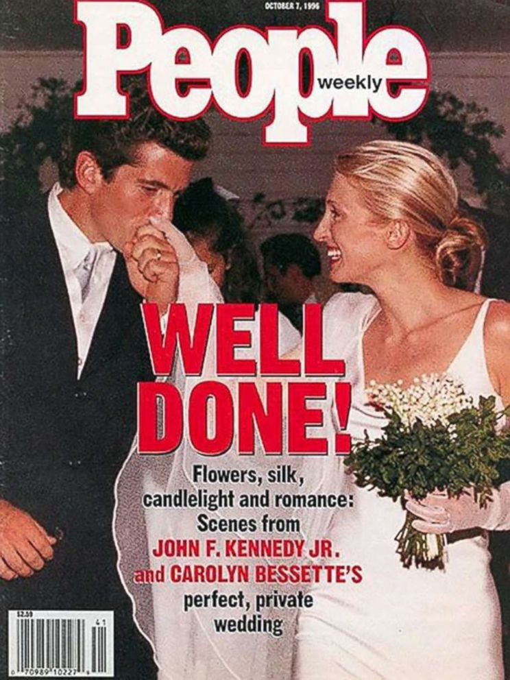 PHOTO: John F. Kennedy Jr. and Carolyn Bessettes wedding is pictured on the front page of People magazine in October 1996.