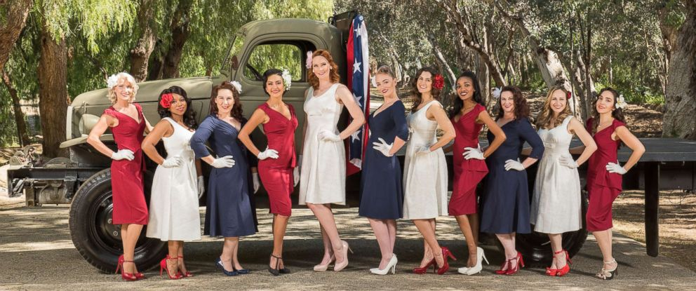 PHOTO: 11 veterans pose for the 2018 Pin-Ups for Vets calendar, which raises money to provide financial assistance for veterans healthcare program across the U.S.