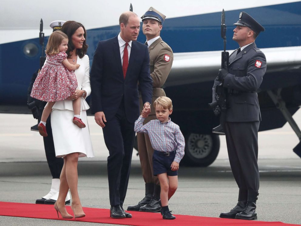 PHOTO: Prince William and his wife Catherine, The Duchess of Cambridge, with their children Prince George and Princess Charlotte arrive in Warsaw, Poland, July 17, 2017.
