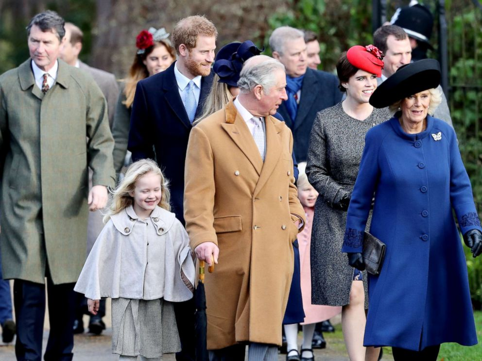 'PHOTO: Savannah Phillips, Prince Harry, Prince Charles, Prince of Wales, Princess Eugenie and Camilla, Duchess of Cornwall attend a Christmas Day church service1_b@b_1Sandringham, Dec. 25, 2016 in Kings Lynn, England.' from the web at 'http://a.abcnews.com/images/Entertainment/prince-harry-christmas2016-ml-171213_4x3_992.jpg'