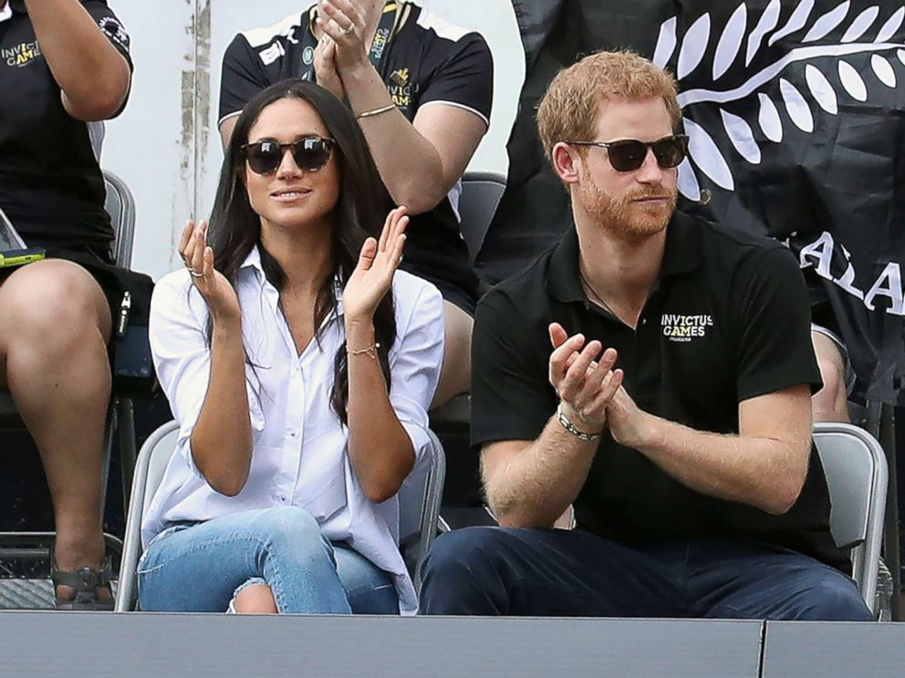 PHOTO: Prince Harry and Meghan Markle attend a Wheelchair Tennis match during the Invictus Games on Sept. 25, 2017, in Toronto.