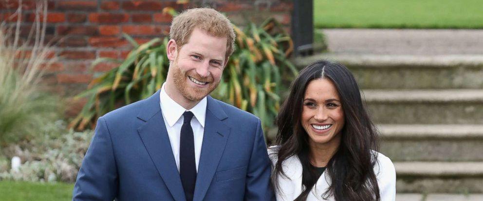 PHOTO: Prince Harry and Meghan Markle pose for photographers during the announcement of their engagement at the Sunken Gardens at Kensington Palace on Nov. 27, 2017 in London.