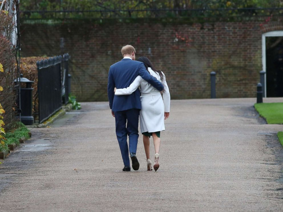 PHOTO: Britains Prince Harry and Meghan Markle leave after a photocall after announcing their engagement in the Sunken Garden in Kensington Palace in London, Nov. 27, 2017.