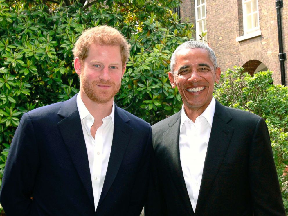 PHOTO: In this handout photo issued by Kensington Palace, Prince Harry poses with former President Barack Obama following a meeting at Kensington Palace, May 27, 2017, in London.