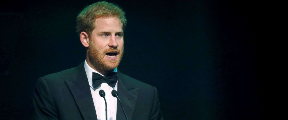 PHOTO: Prince Harry receives a posthumous Attitude Legacy Award on behalf of his mother Diana, Princess of Wales, at the Attitude Awards in London, Oct. 12, 2017.