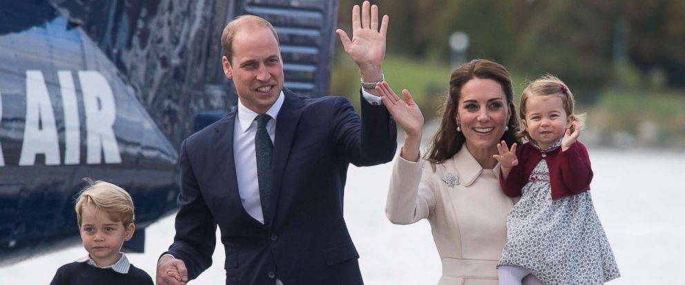 PHOTO: Catherine, Duchess of Cambridge, Prince William, Duke of Cambridge, Prince George of Cambridge and Princess Charlotte of Cambridge wave to well-wishers as they depart Victoria, Oct. 1, 2016, in Victoria, Canada.