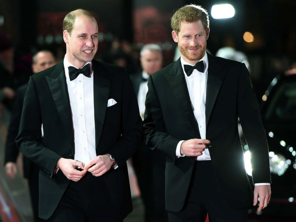 PHOTO: Prince William and Prince Harry attend the European Premiere of Star Wars: The Last Jedi, at the Royal Albert Hall, London, Dec. 12, 2017.
