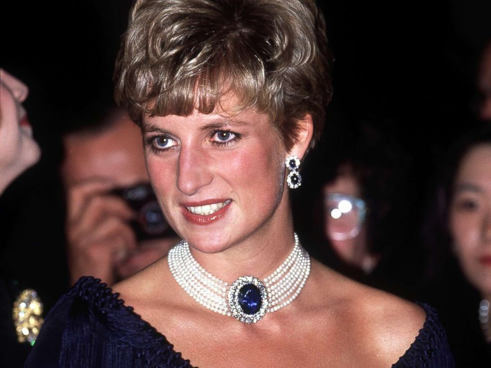 PHOTO: Diana, Princess of Wales, visits the National Arts Centre in Ottawa, October 1991. She is wearing a pearl and sapphire choker.