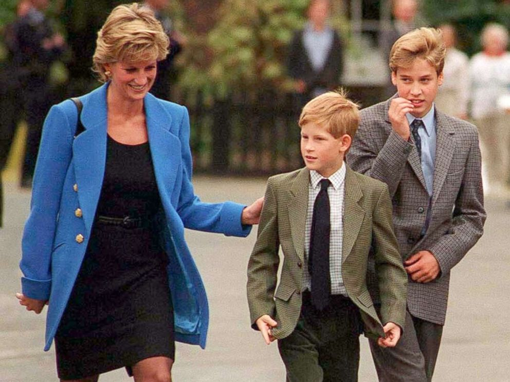 PHOTO: Prince William with Diana, Princess of Wales and Prince Harry on the day he joined Eton in Sept. 1995, in U.K.