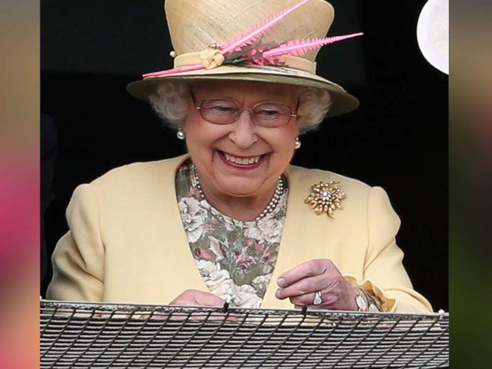 PHOTO: Queen Elizabeth II watches the racing from the Royal Box at Epsom Racecourse on June 6, 2015 in Epsom, England.