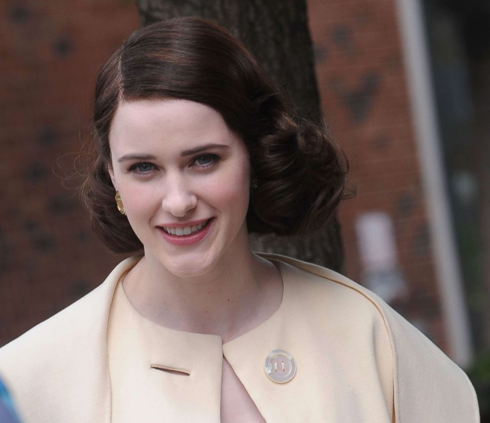 PHOTO: Rachel Brosnahan smiles on the set of The Marvelous Mrs. Maisel on May 24, 2017 in New York.