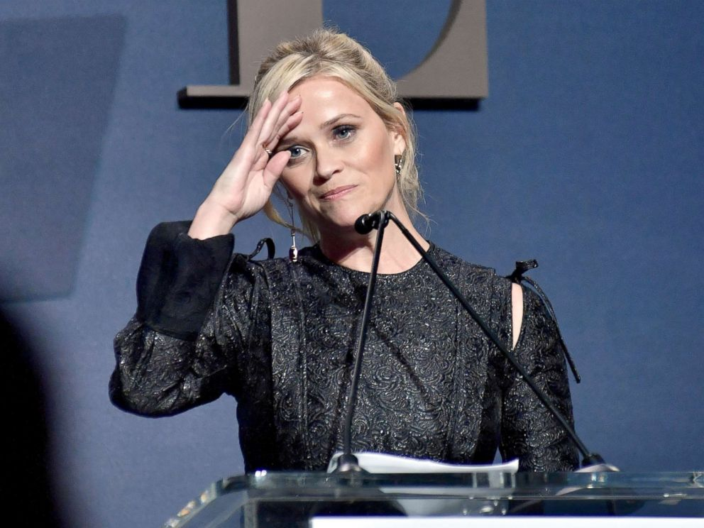 PHOTO: Reese Witherspoon speaks onstage during ELLEs 24th Annual Women in Hollywood celebration at Four Seasons Hotel Los Angeles, Oct. 16, 2017, in Los Angeles.