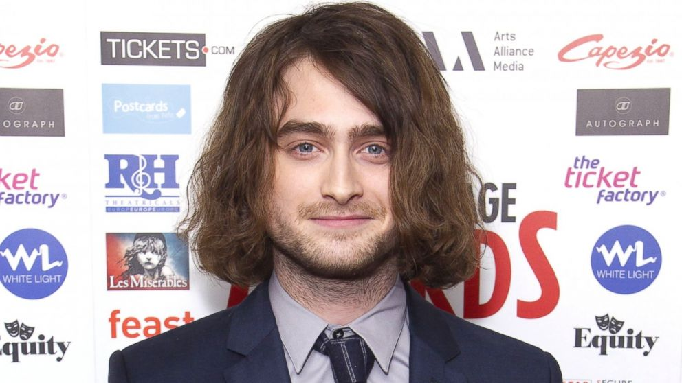 PHOTO: Daniel Radcliffe accepts the 2014 WhatsOnStage Award for Best Actor In a Play for The Cripple of Inishmaan on Feb. 23, 2014.
