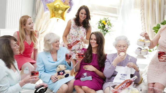 PHOTO: Lookalikes of Carole Middleton, Camilla Duchess of Cornwall, Pippa Middleton, Catherine Duchess of Cambridge and Queen Elizabeth II raise a glass of Shloer at an imaginary royal baby shower Royal lookalikes in April 2013.