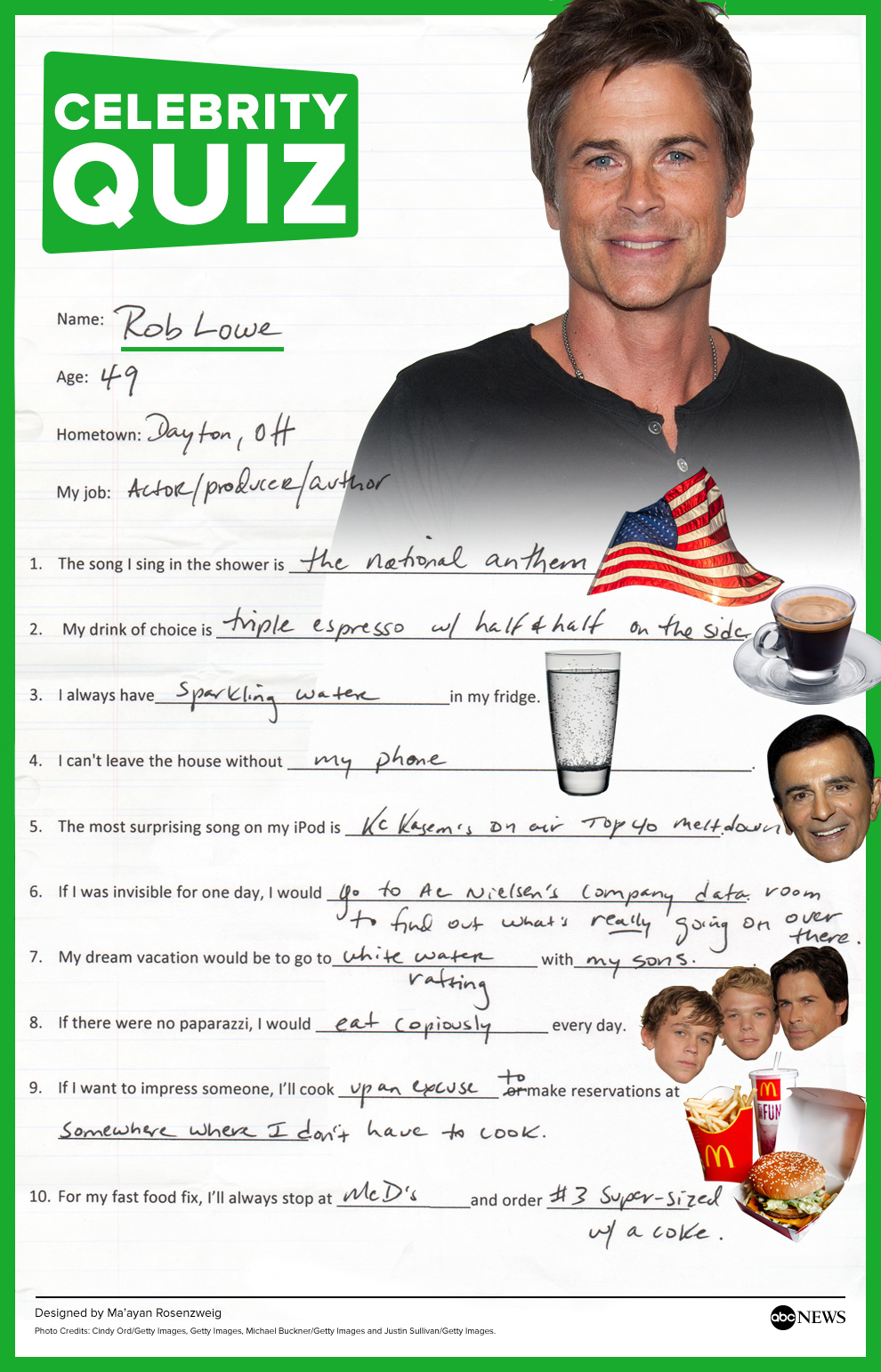 rob lowe tackles the abc news quiz in his handwriting