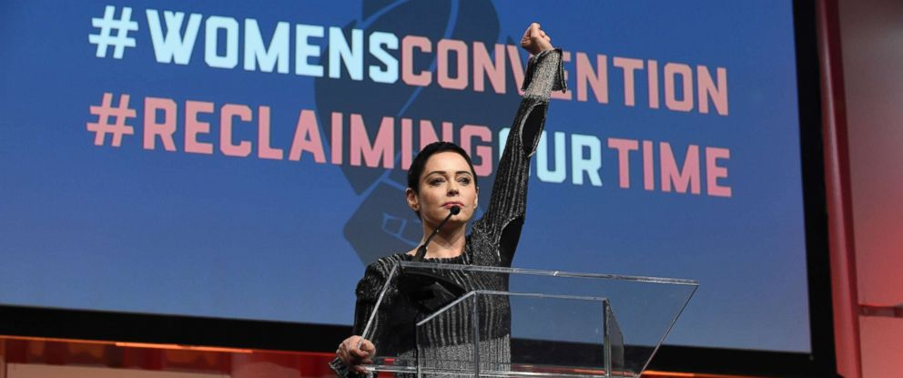 PHOTO: Actress Rose McGowan speaks during the Womens Convention at Cobo Center in Detroit, Mich., Oct. 27, 2017.