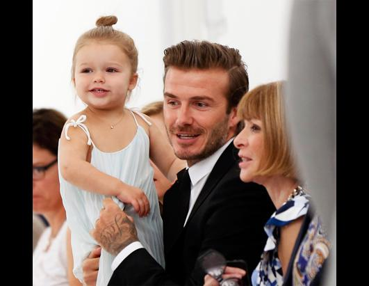 David Beckham and Daughter Harper at Fashion Shows