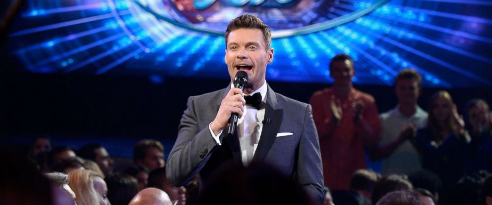 """PHOTO: Ryan Seacrest speaks in the audience during FOXs """"American Idol"""" finale at Dolby Theatre on April 7, 2016 in Hollywood, Calif."""