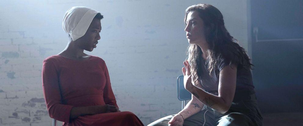 "PHOTO: Samira Wiley, left, behind the scenes of ""The Handmaids Tale."""