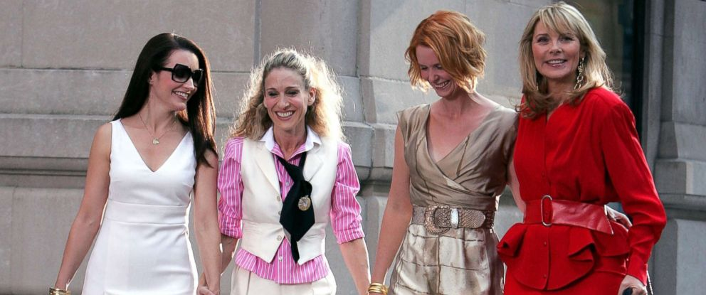 """PHOTO: Kristin Davis, Sarah Jessica Parker, Cynthia Nixon and Kim Cattrall on the set of """"Sex In The City: The Movie"""" in New York City, Sept. 21, 2007."""