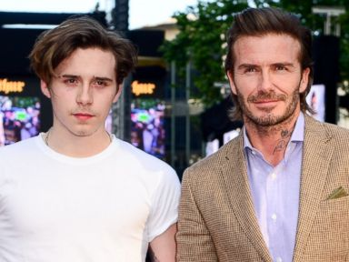 David Beckham takes his son Brooklyn to a movie premiere