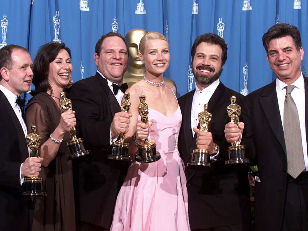 PHOTO: Shakespeare in Love Best Actress winner Gwyneth Paltrow (center) is joined by Harvey Weinstein (center left) and other stars as they celebrated their win of Best Picture at the 1999 Academy Awards in Hollywood, Calif., March 21, 1999.