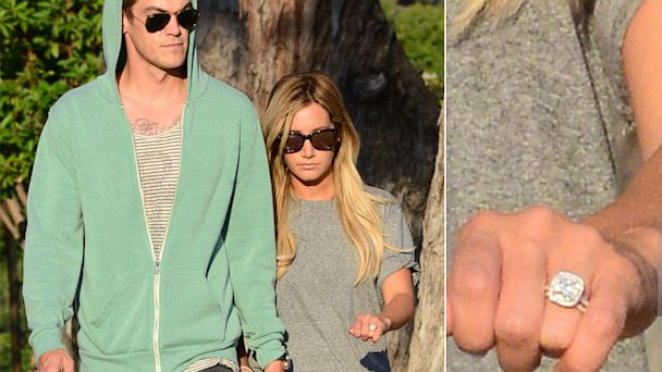 spl ashley tisdale christopher french3 tk 130814 16x9 608 Ashley Tisdale Flaunts Gorgeous Engagement Ring (Photo)