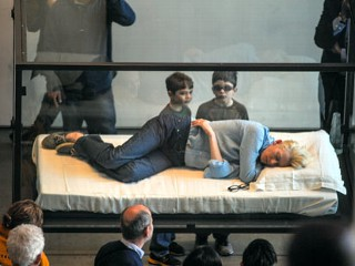 Oscar Winner Sleeps in a Glass Box in Public