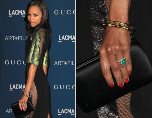 Zoe Saldana Shows Off Emerald Engagement Ring