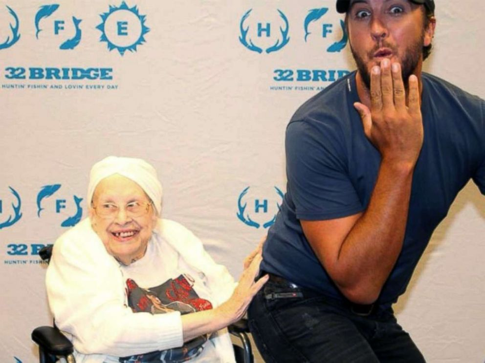 Frances Stanaway of Chesterfield, an 88-year-old terminally ill fan, was granted a special meet and greet with Luke Bryan, July 21, 2017, in Kansas City, Mo.
