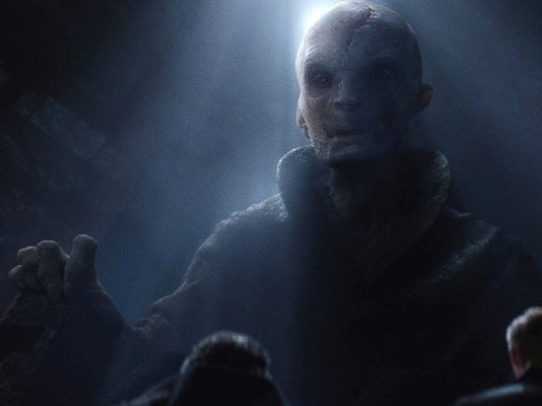 PHOTO: Andy Serkis, as Supreme Leader Snoke, in a scene from Star Wars: The Force Awakens.