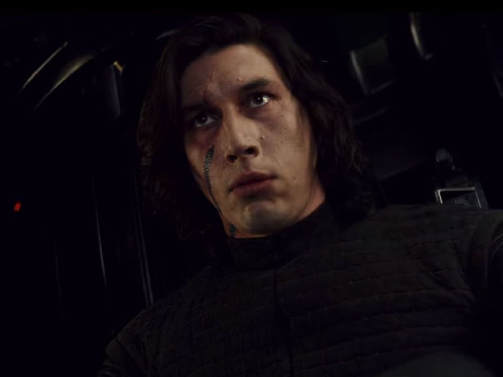 PHOTO: Adam Driver, as Kylo Ren, in a scene from Star Wars: The Last Jedi official trailer.