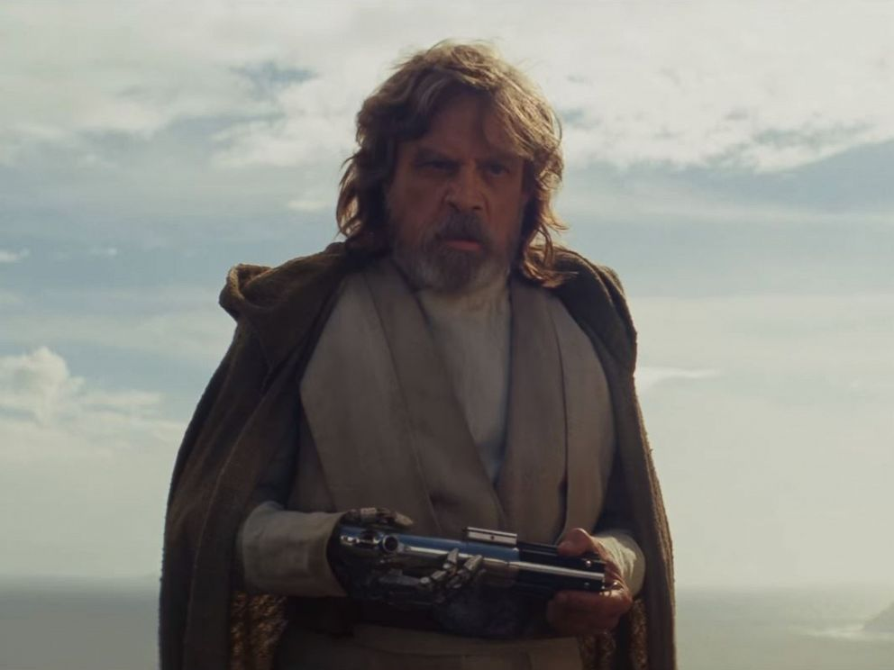 Luke Skywalker in a scene from Star Wars The Last Jedi official trailer
